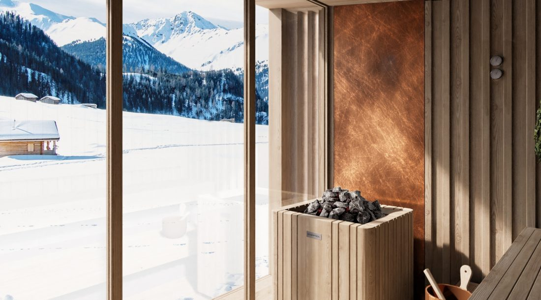 Wooden Outdoor Sauna With Outdoor View In Winter Season - Nature Sauna Collection